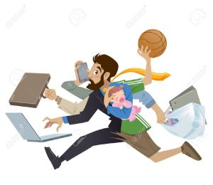 27566123-Cartoon-super-busy-man-and-father-multitask-doing-many-works-running-to-the-office-shopping-playing--Stock-Vector