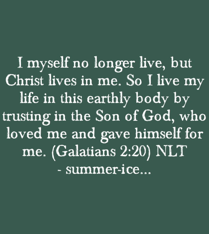 I myself no longer live, but Christ lives in me. So I live my life in this earthly body by trusting in the Son of God, who loved me and gave himself for me. (Galatians 2:20)